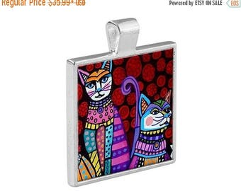 Cat Folk Art Jewelry - Pendant Metal  Gift Art Heather Galler Gift-  Cat Lovers Abstract Modern Vegan Gifts