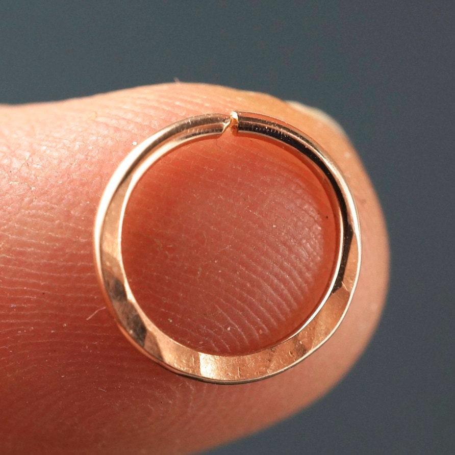 18 gauge Septum Ring hammered nose hoop 14 kt Rose Gold
