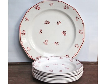 8 Antique French Plates and 1 Platter Dessert plates and Platter- Faience - Earthenware - Ironstone Red Transferware - Art deco Cake set
