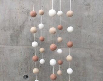 Neutral Felt Ball Nursery Mobile - Beige Tan White Playroom PomPom Nursery Decor