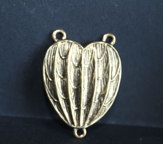 Vintage Brass Heart Connector, 3 loops, brass FINDING, Dapped, ornate, hand made, Vintage Brass Stamping, Brass Filigree, Large