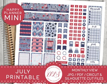 Mini Happy Planner July, July Monthly View, 4th of July Stickers Kit, July Happy Planner, Monthly Printable Kit, Monthly View Kit, MM111