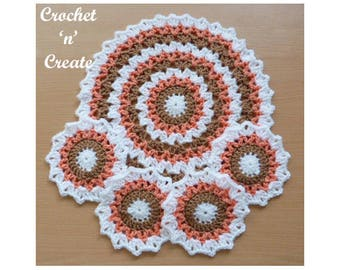 Crochet Mat and Coaster Crochet Pattern (DOWNLOAD) CNC93