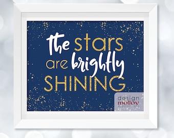 Christmas Decor - Stars are Brightly Shining, Christmas Lyrics, Oh Holy Night Printable, Holiday Digital Print, Christmas Printable