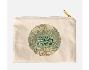 London Cosmetic Bag, London Makeup Bag, London Make Up Bag, Cotton Canvas Cosmetic Bag, Vintage London Map Makeup Bag, London Gift, 9.5 x 7
