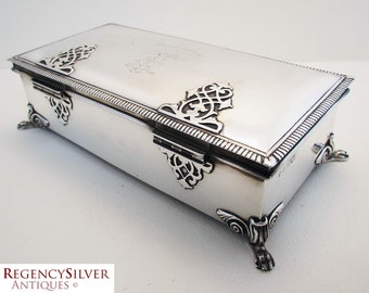 Very Large ANTIQUE Solid Sterling Silver Cigarette/Trinket/Jewelry Box Case Casket. English Hallmarks. Early 20th-century. Strap work Hinges