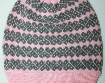 AMOUR Knitting Pattern for Ladies Fair Isle Beanie Bobble Hat PDF Instant Download