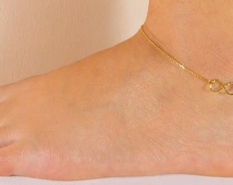 Infinity anklet, gold plated anklet, ankle bracelet hammered, sea, summer, holiday, beach, pool, summer accessories, gift 437