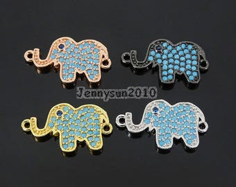 Zircon Gemstones Pave Turquoise Elephant Bracelet Connector Charm Beads Silver Gold Rose Gold Gunmetal