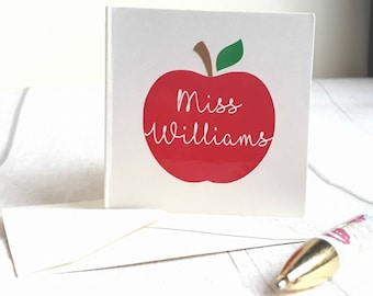 Handmade Teacher Card, Thank You Card, Personalised Teacher Gift