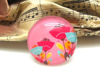 1 cabochon 25 mm glass spring flowers pink - 25 mm
