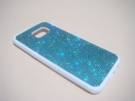 Galaxy S7 Edge Case Aquamarine Blue Diamond Crystals on White Rubber Case. Velvet/Silk Pouch Bag Included, Genuine Rangsee Crystal Cases.
