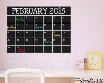 Chalkboard Monthly Calendar Decal - Chalkboard Decal - Chalkboard Wall Calendar - Black Chalk Board  Calendar Decal Vinyl Sticker - C033