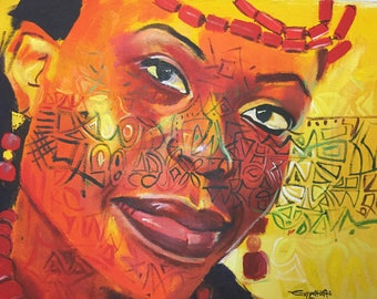African Painting. Pretty Woman 3. Acrylic Painting On Canvas.
