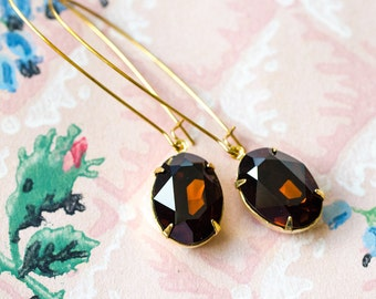 Dark Brown Long Dangle Earrings, Old Hollywood Jewelry, Bridal Jewelry Gold Earrings Retro Jewelry, Vintage Style Jewelry, Sparkly Earrings