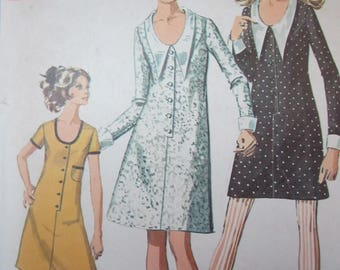 Simplicity 7915 Vintage 1960s Sewing Pattern - Mini Dress Pattern - Exaggerated Collar Mini Dress - Scoop Neck Dress Pattern Size 10 Bust 32