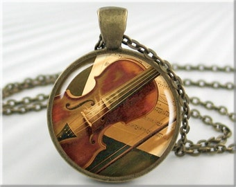 Violin Art Necklace, Resin Pendant, Violin Jewelry, Violinist Gift, Musician Jewelry, Orchestra Gift, Music Art, Gift For Musician 558RB