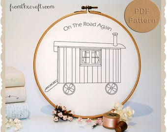 On The Road Gypsy Caravan Hand embroidery pattern PDF