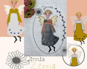 LITTLE ANGEL ZENNIA, romantic Angel machine embroidery designs inspired by the flowers in my garden, 4 angel designs + a text design