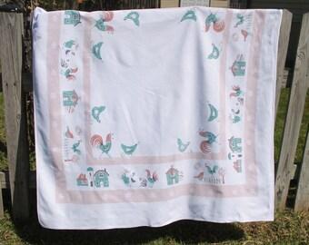 Vintage Farm Tablecloth, Roosters, Chickens, Eggs, Barn, Farmhouse, Aqua Blue, Beige, Tan, Brown, Cotton, 52 x 46