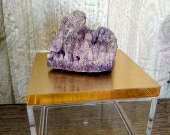 Purple Geode Crystal and Gold Lid Acrylic Box. Crystal Rock Jewellry Box. Trinket Box. Clear Box.