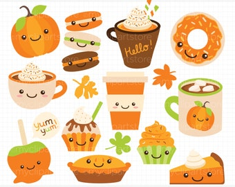 Clipart - Pumpkin Spice / Fall Treats / Autumn - Digital Clip Art (Instant Download)