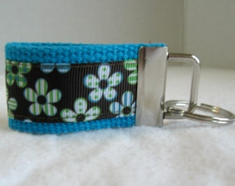 Floral Mini Key Fob - Brown Turquoise Lime - Small Key Chain - Handmade Key Ring - Flowers Small Keychain