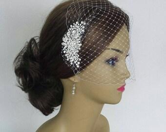 "BRIDAL HEADPIECE, Stunning Diamante Crystal Rhinestone Bridal Comb With Birdcage Veil, (3 Pieces) ""JASMIN"""