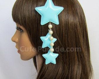 Pastel Blue Triple Star Hair Clip Brooch with White Pearls- Lolita Fairy Kei Decora Shooting Star Hair Accessory