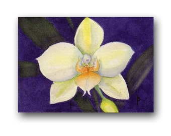 ACEO watercolor ORCHID original painting SFA miniature  dollhouse mini