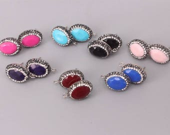 10 Pairs Oval Shape Agate Post Earring Findings with Open Loop, Paved Rhinestone,Agate Stud Earring Supplies