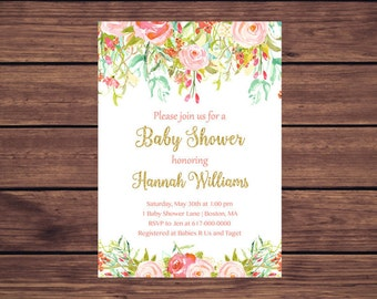 Floral Baby Shower Invitation, Baby Girl Shower, Colorful Flowers Pink and Mint Printable Digital JPEG PDF 893