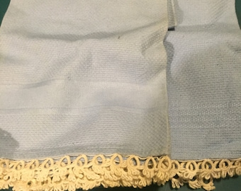 Blue Linen Tea Towel Set with White Tatted Edging