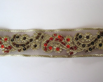 Organza embroidered lace yarn with beads and sequins-ref C2