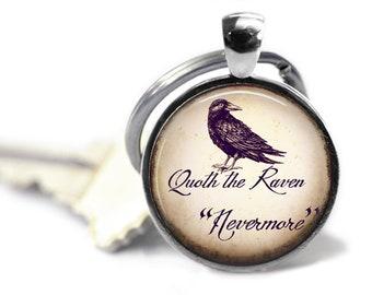 Quoth the Raven, Nevermore, Edgar Allan Poe, Keychain, Steampunk Keychain, Poe Gift, Literary Gift, English Teacher Gift, Poe Gift