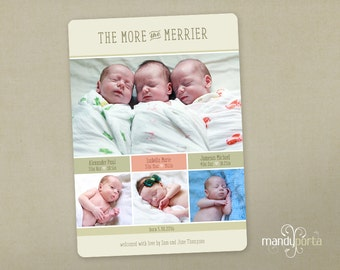 Triplet Baby Birth Announcement DIY Custom Digital Printable with Four Photos - The More The Merrier