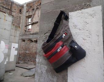 Hip Bag / Leather and  Waxed Canvas / Fanny Pack  /  Festival Bag / Belt Bag /Travel Pouch / Babywearing Bag / Waist Bag / Bum Bag