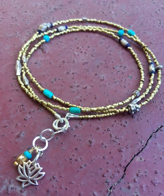African Brass Heishi Necklace or Bracelet Turquoise Thai Silver Sterling Lotus Mixed Metal Delicate December Birthstone  Mixed Metal Yoga