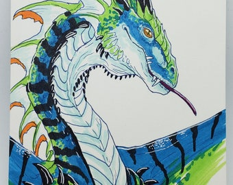 ORIGINAL ART - Fantasy Dragon Copic Marker Traditional Artwork