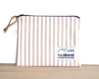 Zipper pouch baby pink and white stripes and chambray / stripes zipper bag / make up bag pink stripes / jewelry bag / striped fabric pouch