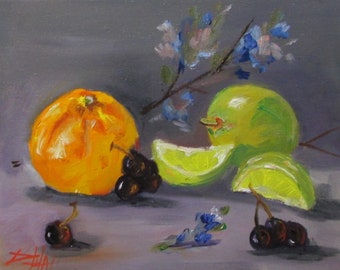 Orange and Lime with Flowers oil painting still life Art by Delilah