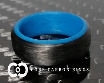 Carbon Fiber Blue Glow Ring