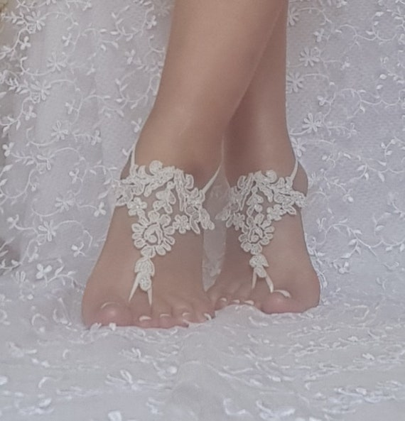 silver  lace barefoot sandal beach wedding barefoot sandal bridal barefoot sandals   wedding barefoot sandal beach shoe