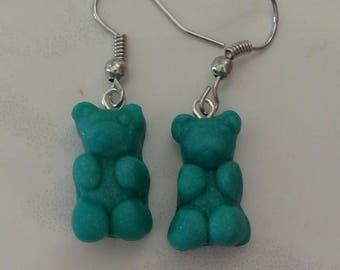 Beautiful Teal Gummy Bear Earrings Polymer Clay