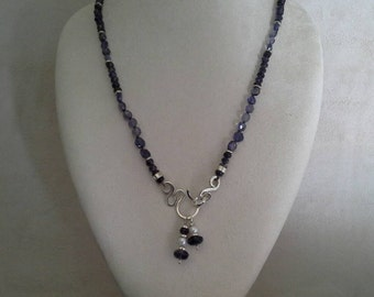 """Iolite Sterling Silver Reversible 24"""" Necklace, Exclusive Handmade Clasp and Two Removable Akoya Pearl and Iolite Pendants//Gifts for Her"""