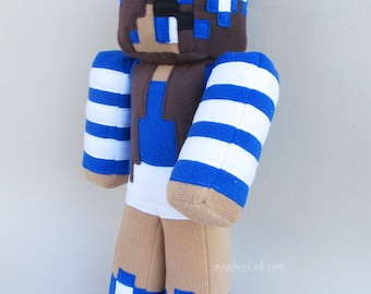 "Minecraft Carly doll - Girl Minecraft skin plush 16"" - Personalized plushie - MADE TO ORDER"