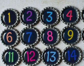 Number Magnets- Kids, Preschool, Homeschool Learning- Kids Counting Magnets 1 to 31 OR 1 to 50- Teacher Gift- Number Bottlecap Magnets