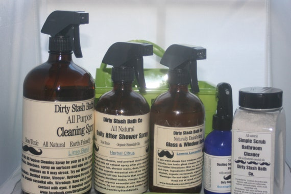 All Natural Spring Cleaning Bundle with Organic Essential oils with a FREE product Pick your Essential Oil Blend