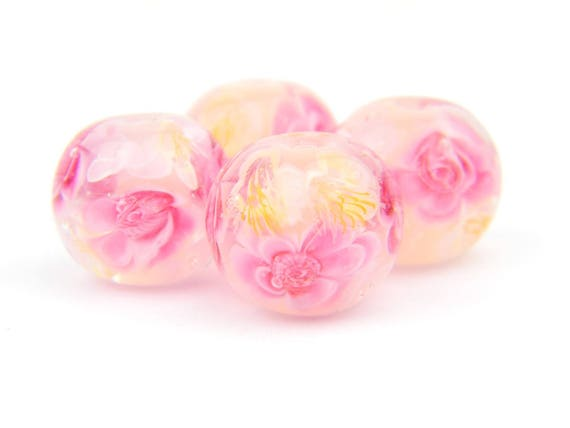 Lampwork Glass Beads - Bright and Light Pink flowers bead 15mm - Pink Darlings Collection