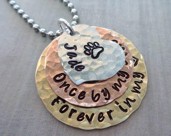 Pet Memorial Necklace Once by my side forever in my heart - Dog Memorial  Jewelry -Cat Loss Necklace - Personalized Pet Loss Necklace- P3